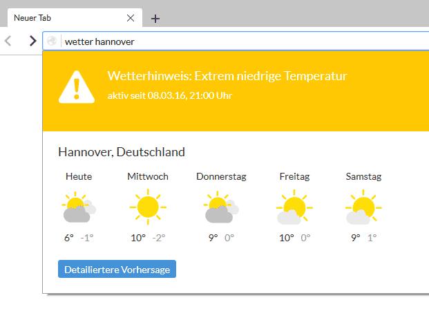 Cliqz liefert Informationen wie das Wetter sofort.