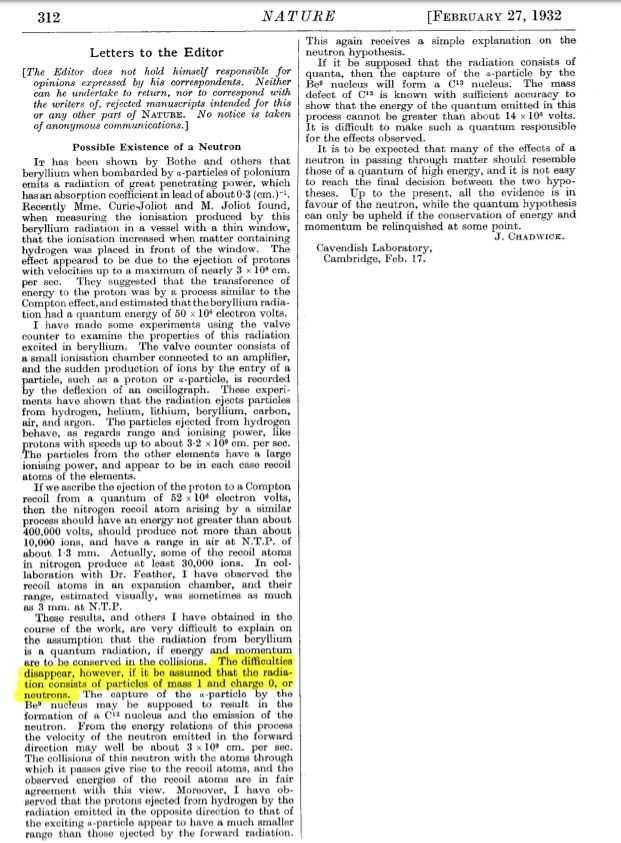 Die Zeitschrift Nature veröffentlichte am 27. Februar James Chadwicks Entdeckung des Neutrons.