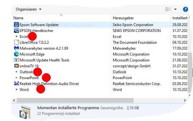Ein Screenshot eines betroffenen Nutzers zeigt Office-PWA-Installationen von 10. Oktober.