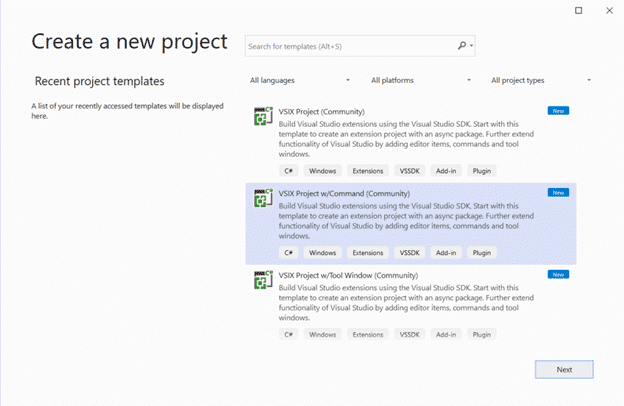 Template-Auswahl im Visual Studio Community Toolkit