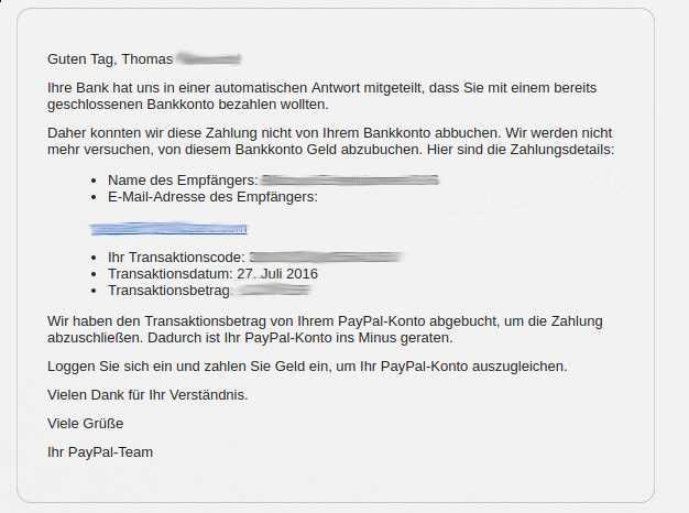 Paypal hat Probleme mit Lastschriftzahlungen