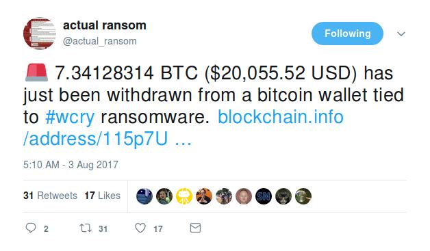 Die erste Überweisung aus einer mit WannaCry-verknüften Bitcoin-Adresse
