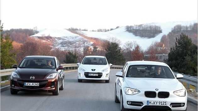 Mazda 3 2.2 CD, Peugeot 308 HDI FAP 150 und BMW 118d im Vergleich