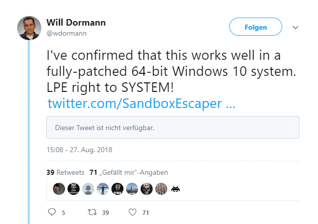 Zero-Day-Lücke in Windows, Microsoft-Statement steht noch aus