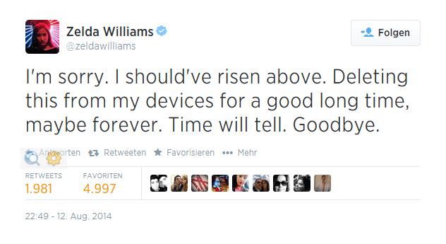 Zelda Williams nimmt ihren Hut bei Twitter.