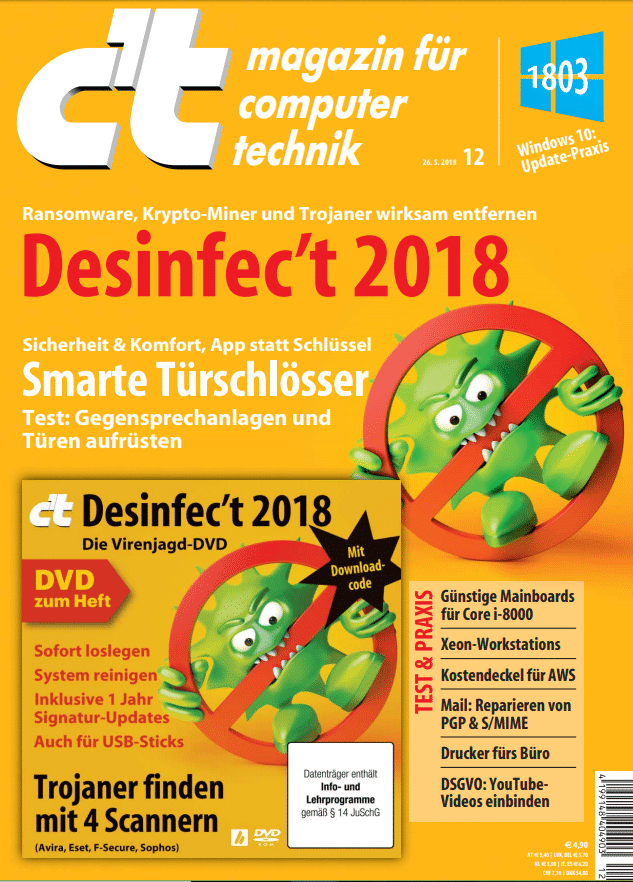 Desinfec't 2018 liegt der c't-Ausgabe 12/2018 als Heft-DVD bei. Käufer können das Sicherheitstoolk aber auch herunterladen.