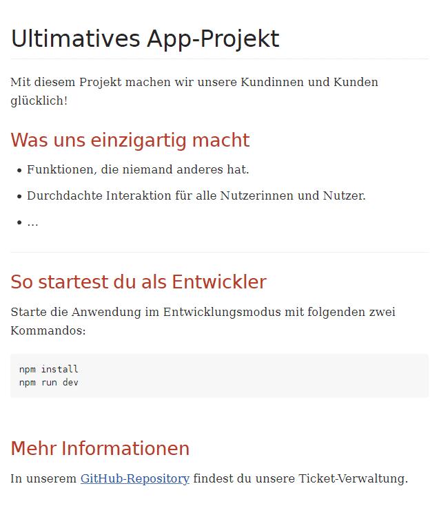 Ausgabe des README als HTML (Abb. 1)