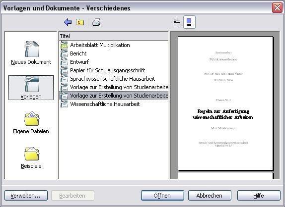 OpenOffice Vorlagen Paket
