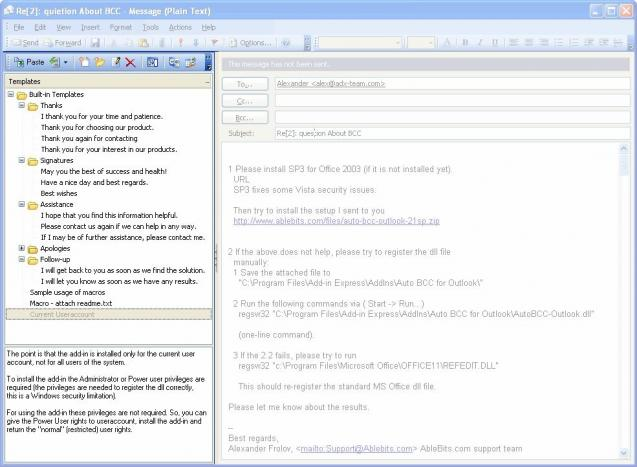 template phrases for microsoft outlook