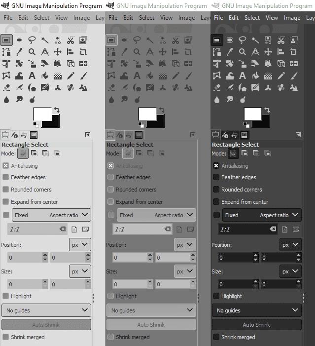 Gimp 2.10 erscheint in drei modischen Farben.