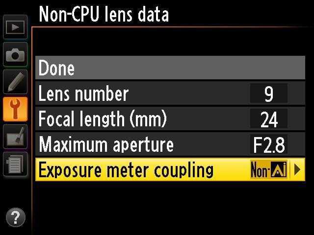 Alte manuelle Nikkor-Linsen lassen sich im Kameramenü der Df konfigurieren.
