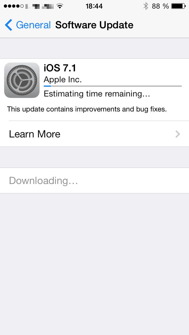 iOS 7.1 auf einem iPhone 5s.