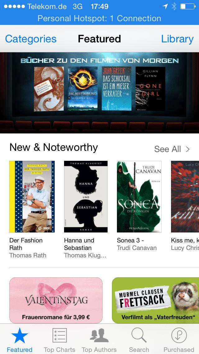 Der iBooks Store auf dem iPhone