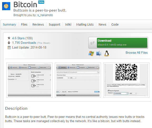"""""""Buttcoin is a peer to peer butt"""": Defacement der Source-Forge-Seite."""