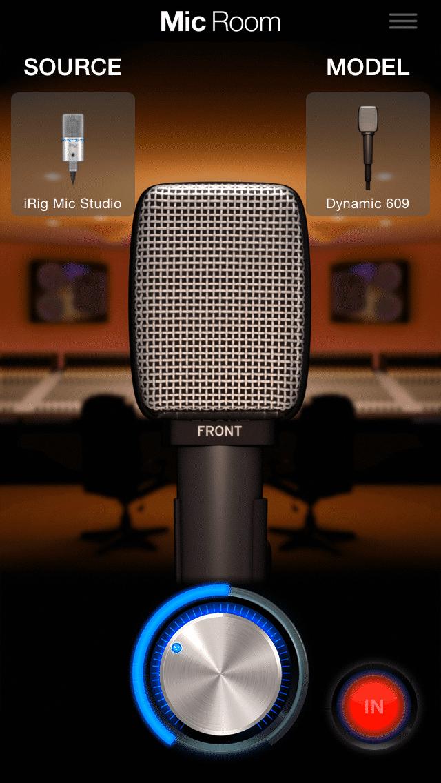 Mic Room arbeitet mit den Hardware-Mikros für iPhone und iPad von IK Multimedia zusammen und simuliert den Klang klassischer Mikrofone.