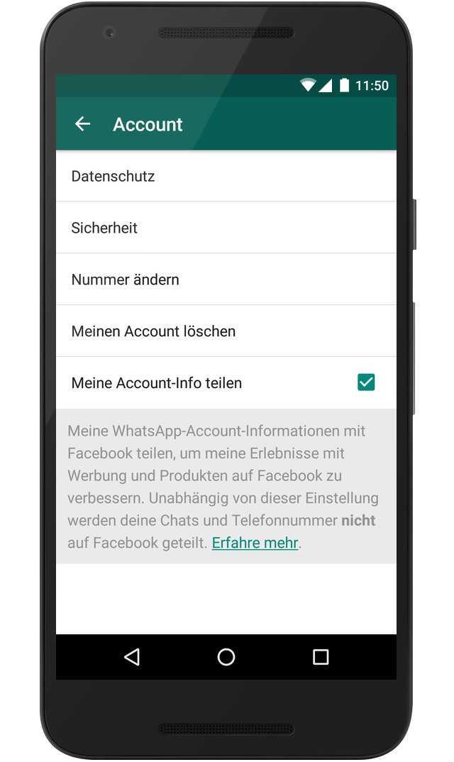 WhatsApp Datenweitergabe an Facebook