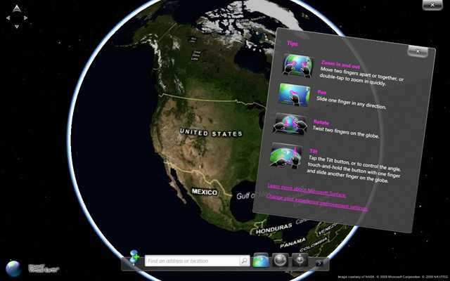 Das Tool Surface Globe ermöglicht mit Hilfe der Virtual Earth 3D Engine ein Navigieren durch einen 3D-Atlas mit Gesten.