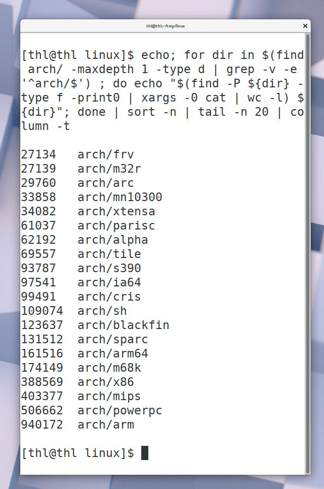 Beim Architektur-Code dominiert nicht die Unterstützung für den 32- und 64-Bit-x86-Prozessoren, sondern die für 32-Bit-ARM-CPUs.