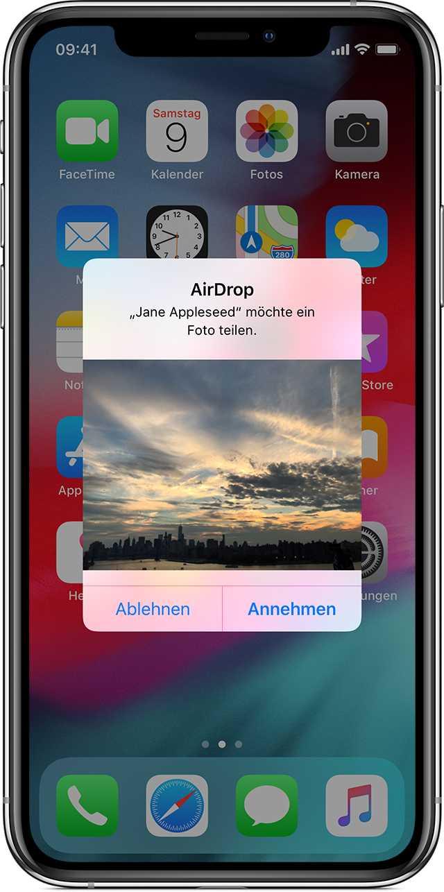 Foto-AirDrop – ein Vorschaubild bringt den Inhalt sofort aufs Display.