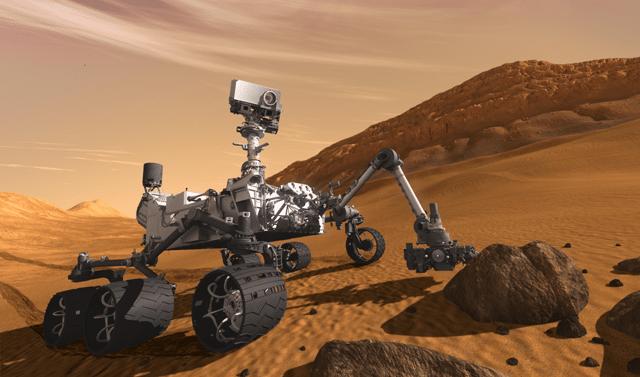 2012: Auch Curiosity wird mit dem Greifarm Bodenproben entnehmen (Illustration).