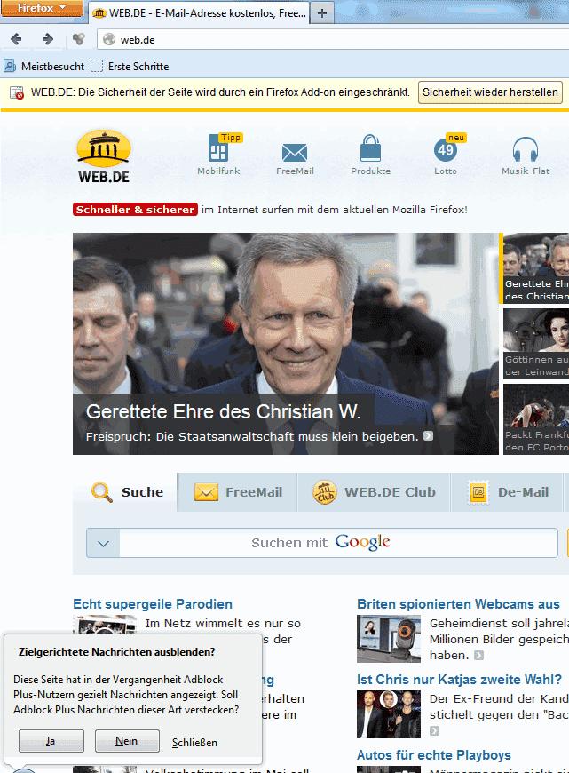 Adblock Plus revanchierte sich binnen kurzer Zeit für die Warnmeldung mit einer eigenen Nachricht an die Nutzer...