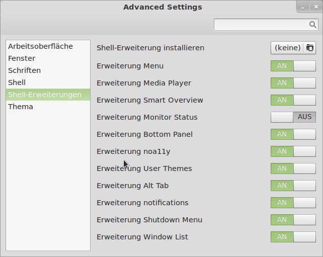 Im Gnome Tweak Tool entscheidet man, welche Shell-Erweiterungen man aktivieren will.