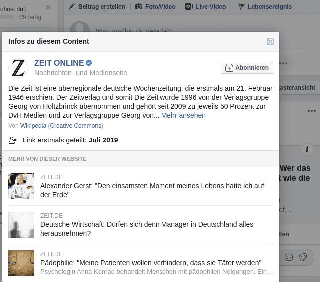 Zeitinformation  Facebook