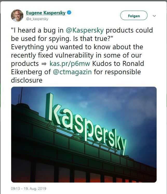 Eugene Kaspersky bedankt sich per Twitter