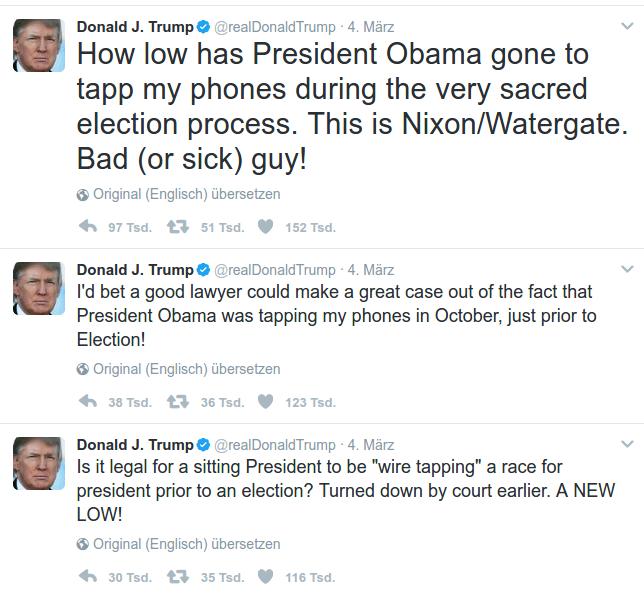 Donald J. Trump feuerte via Twitter mehrfach gegen die Obama-Regierung.