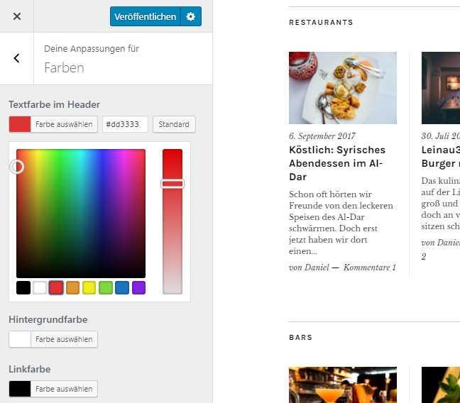 """Mit dem """"Customizer"""" lässt sich ein Design (Theme) mit wenigen Klicks anpassen."""