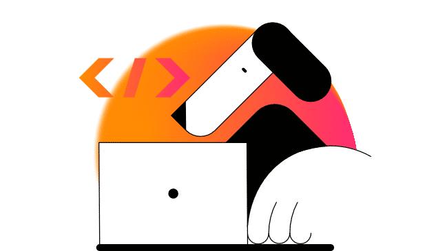 Entwickler vor Laptop in stilisierter Darstellung (eher Hund als Mensch)
