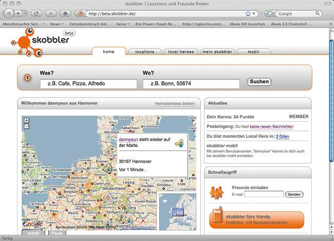 In der Hauptansicht zeigt das Internet-Portal Skobbler auf einer Google-Maps-Karte eingeloggte Nutzer und POI-Tipps an.