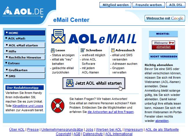 AOL Mail vor zehn Jahren