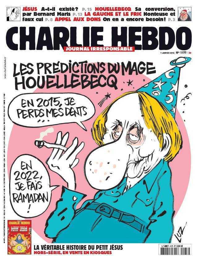 """Die aktuelle Ausgabe des Magazins machte sich unter anderem über den Schriftsteller Michel Houellebecq und seinen neuen islamkritischen Roman  """"Soumission"""" (Unterwerfung) lustig."""