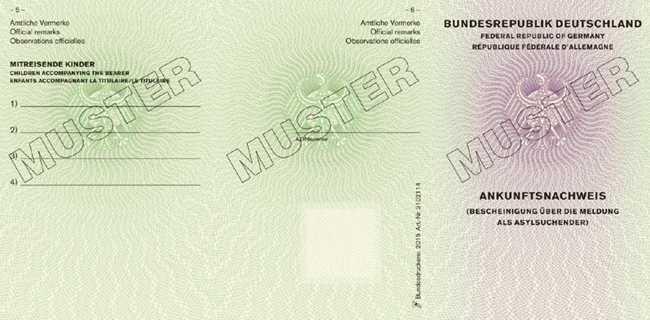ein muster des geplanten ankunftsnachweises - Asylantrag Muster