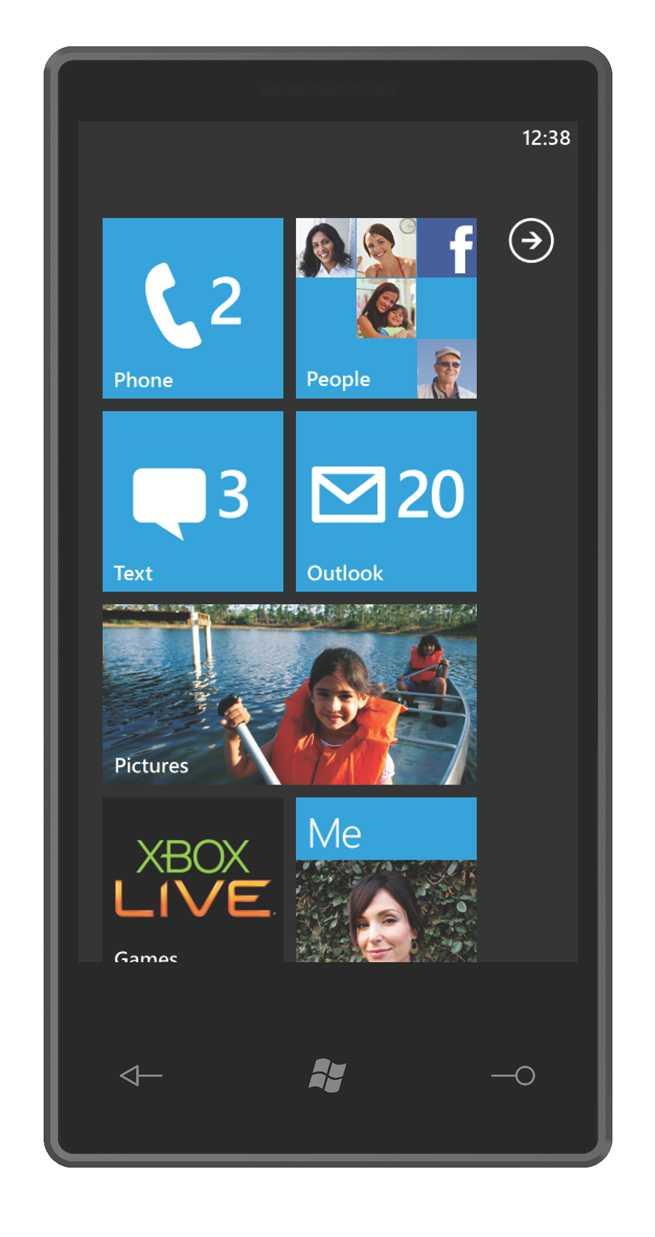 """Der Startscreen von """"Windows Phone 7 Series"""" mixt Infos zu eingehenden Nachrichten mit News aus sozialen Netzwerken."""