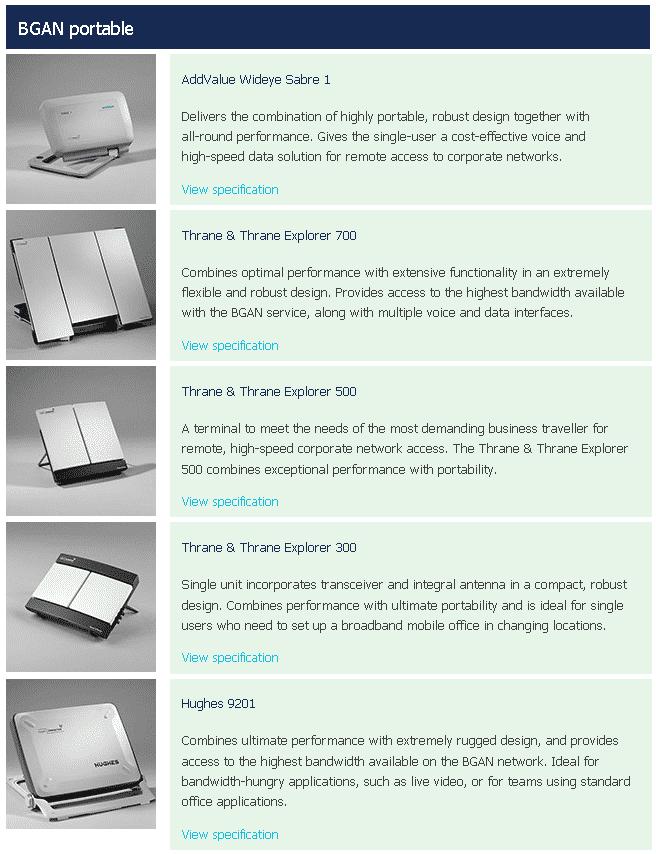 Portable BGAN-Terminals kommen liefert der Anbieter Inmarsat als Kombigeräte aus Antenne und Router aus. Bei Systemen für Fahrzeuge kommen externe Antennen zum Einsatz.