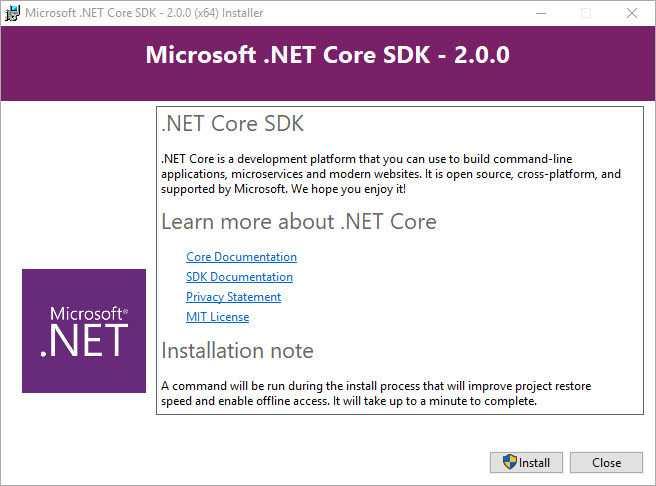 Installation des .NET Core 2.0 SDK
