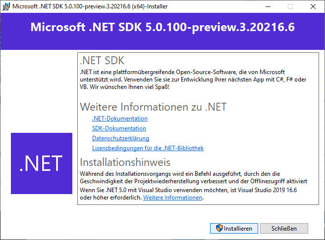 Installation von .NET 5.0 Preview 3