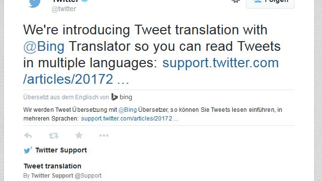 Twitter übersetzt Tweets mit Bing Translator