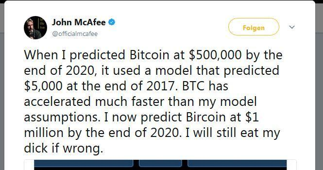 John Mcafee verspricht, seinen Penis zu verspeisen, sollte der Bitcoin nicht bis 2020 eine Million US-Dollar wert sein.