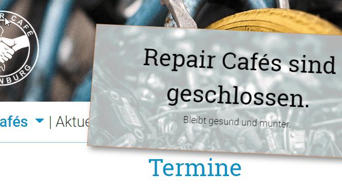 Cafe geschlossen Schild