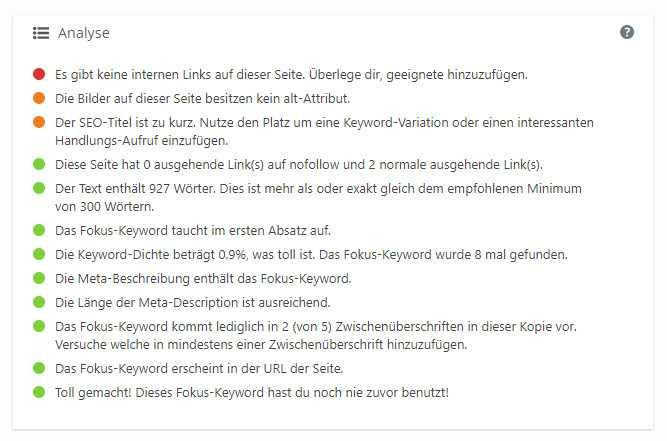 Fehlende Links, keine ALT-Texte: Yoast SEO gibt Tipps bei der Suchmaschinenoptimierung (SEO).