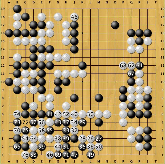 Endstand der Partie: AlphaGo gewinnt durch Aufgabe.