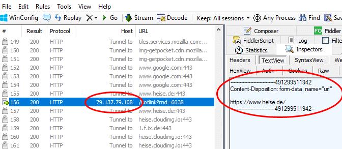 """Das Netzwerk-Tool Fiddler zeigt, wie das Add-on """"Photobucket Hotlink Fix"""" bei jedem Seitenaufruf die URL an einen externen Server mit der IP 79.137.79.108 sendet."""