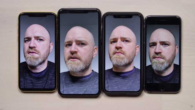 iPhone XS and iPhone XS Max in the middle, iPhone X left, iPhone 6 right.