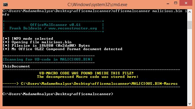 OfficeMalScanner extrahiert unter anderem verdächtige Makros aus Office-Dateien.