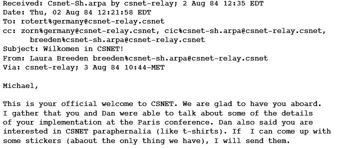 Ein Auszug aus der ersten E-Mail, die in Deutschland ankam.