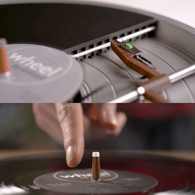 Beim Wheel-Plattspieler befindet sich der Tonabnehmer unter der Schallplatte. Bedient wird er komplett über einen einzigen Schalter.