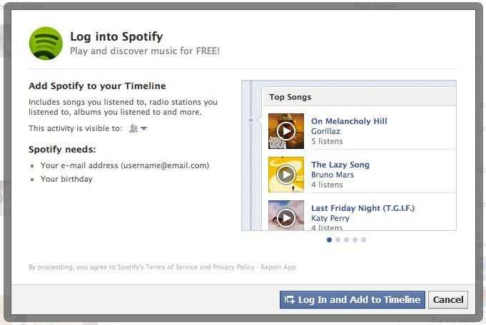 Installation der Facebook-Spotify-App
